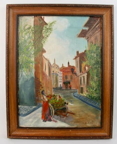 Italian Fruit Vendor Street Scene Painting