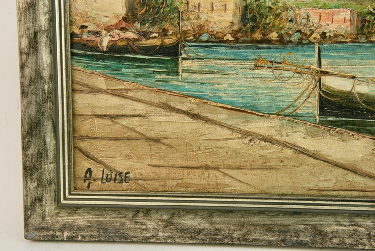 5-3381 Oil on canvas of the Amalfi Coast of Italy  Set In silvered wood frame Image size 11x14.5