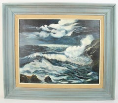 Impressionist Moonlit Sea Nautical Seascape Painting