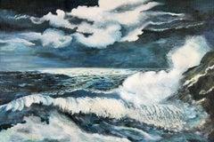 Impressionist Moonlit Sea Nautical Seascape Painting