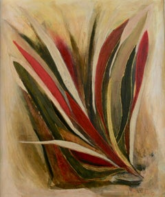 Mid Century Modern  Red Gold Abstract Painting 1970