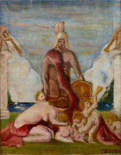 Antique European  Mythological Figurative oil  Painting 1920