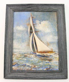 Circa 1920's Three Dimensional Sailing Seascape  Painting Sculpture