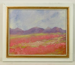 Pink Field Landscape  Abstract Painting