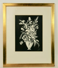 Black and White Floral Still life Painting