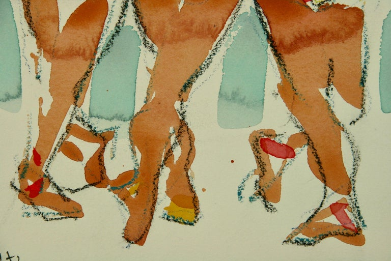 Broadway Female  Dancers Figurative - Brown Figurative Painting by Unknown