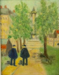 Impressionist Figurative  Old  Paris Street Landscape