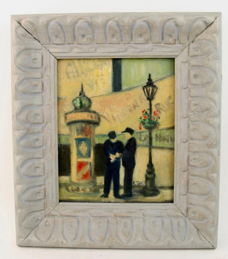 Unknown Landscape Painting - Impressionist French Old  Paris Figurative Street Landscape