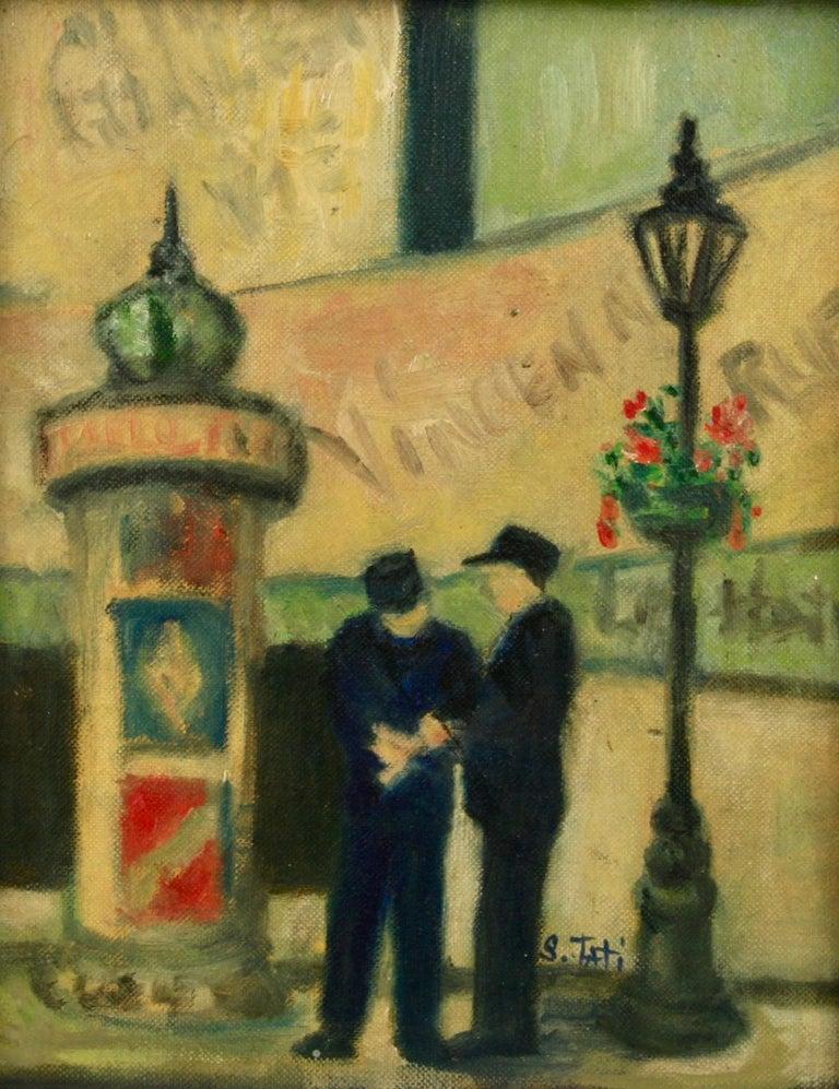 Impressionist French Old  Paris Figurative Street Landscape For Sale 1