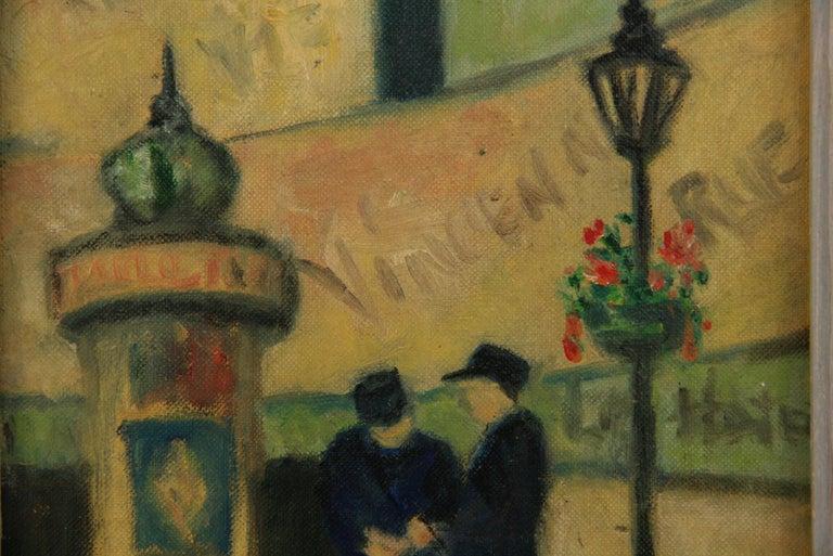 Impressionist French Old  Paris Figurative Street Landscape For Sale 2