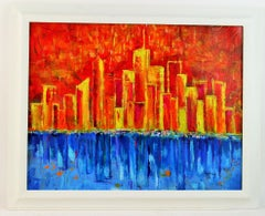 Modern City River View Abstract Landscape
