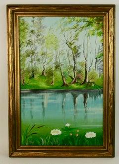 Antique Impressionist  Lake View Landscape  Painting 1940