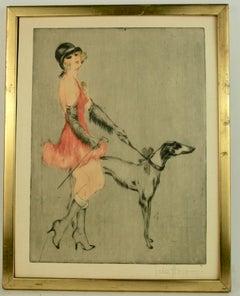 Circa 1920's Deco Flapper Figurative Engraving