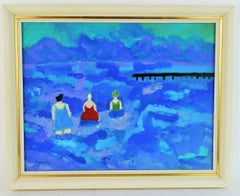 Three Bathing Beauties Figurative Beach Landscape Painting