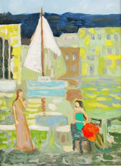 Lunch at Saint Tropez Yacht Harbor Figurative Landscape  Painting