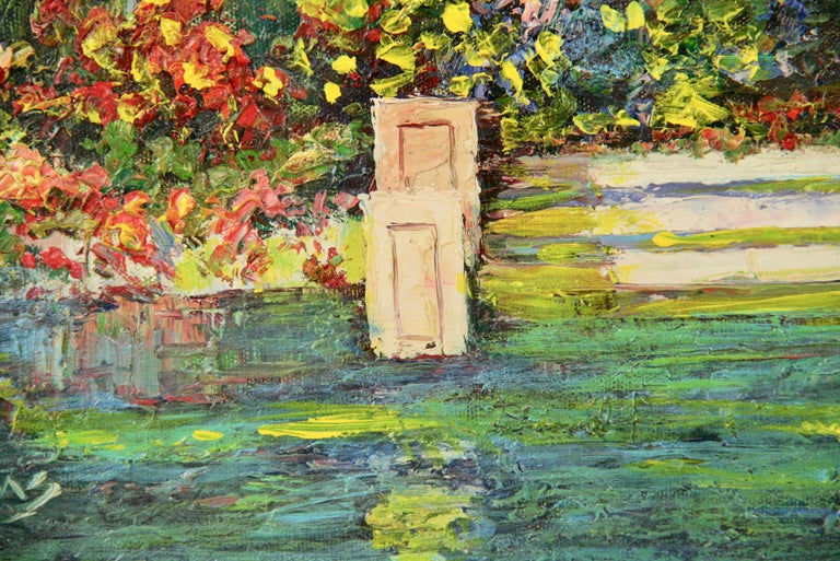5-3365 Oil on artist board of on enchanted lily pond Set in an ornate hand painted wood frame Image size 12.5x15.5