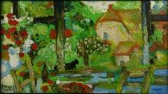 Impressionist French Landscape Painting Gazing Thru The Window