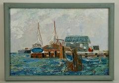 California Boat Dock Coastal  Landscape Painting