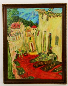 Surreal   French Village Landscape  Painting