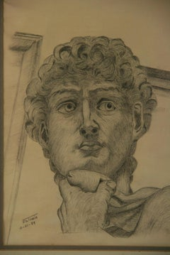 Classical Italian Charcoal Drawing of Michelangelo's David