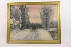 Antique Impressionist Dutch Winter Scene Landscape Oil  Painting circa 1940