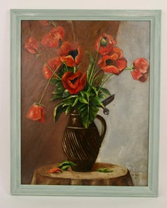 Impressionist Poppies Still Life Floral  Painting 1953