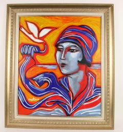 French Deco Lady Impressionist Figurative Painting by Martino