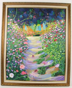Impressionist Large  Garden Path Flowering Garden  Landscape  Painting