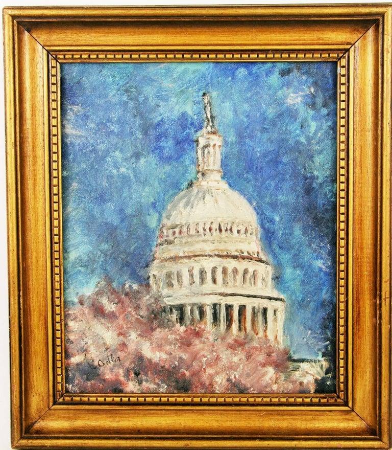 V.Adler Still-Life Painting - Cherry Blossoms in DC Landscape Cityscape