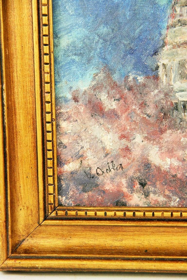 5-2854 Cherry Blossom in DC, oil on board set in a vintage wood frame, signed by V.Adler  Image size 11.5x9,5