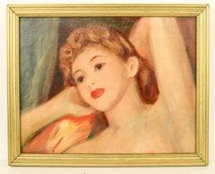 Art Deco 1920's Posing Figurative Female  Painting