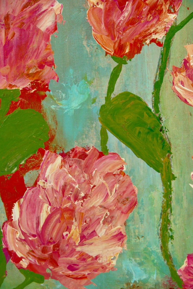 Impressionist Tropical Flowers - Painting by A.Merini