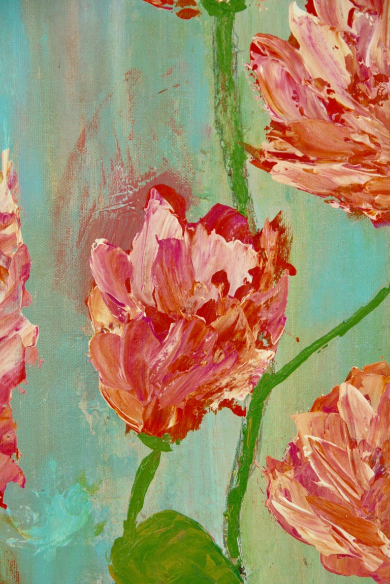 Impressionist Tropical Flowers - Brown Still-Life Painting by A.Merini