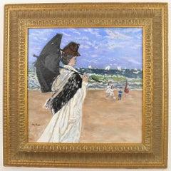 French Impressionist Female  Figurative  Beach Landscape Painting