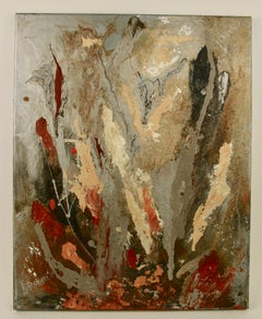 Mid Century Modern  Abstract Acrylic Rust Color Painting