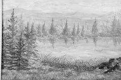 Contemporary Impressionist  Gray and White Landscape