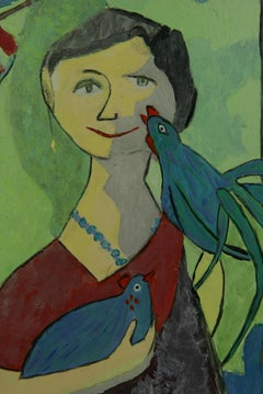 Surreal Bird Lady  Abstract Bird  Painting 1980