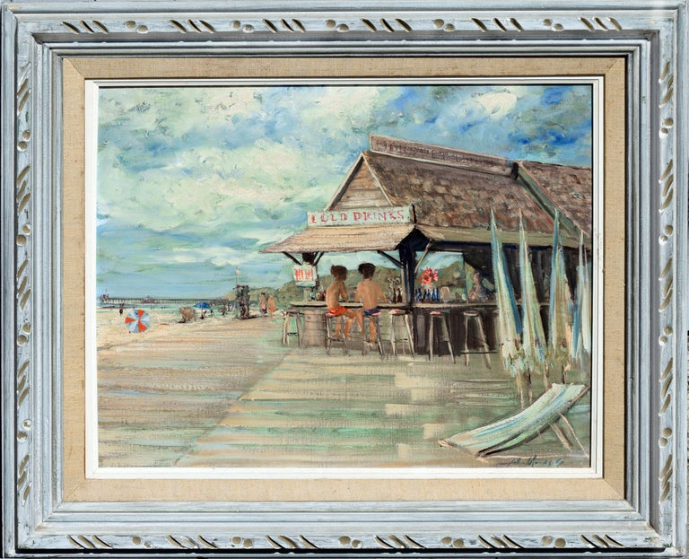 """The Lunch Hut on Laguna Beach circa 1967 by Laguna Beach Born artist John Morris (American, 1920-1921). In a rustic style painted frame, some age toning to linen liner. Image, 20""""H x 24""""L. The American Impressionist John Morris was honored in 2006"""