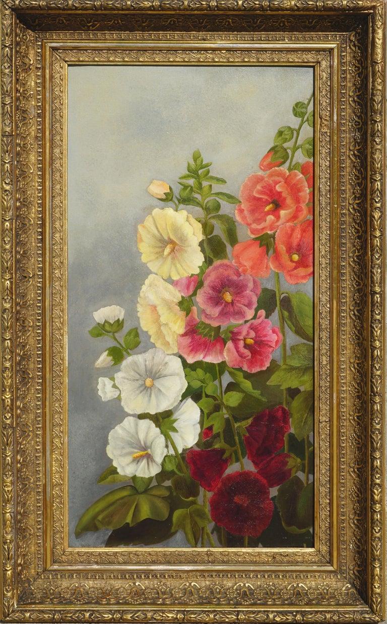 Georgia White Still-Life Painting - Old Fashioned Hollyhocks