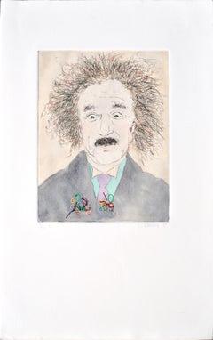 Portrait of Albert Einstein with Multi-Colored Wires