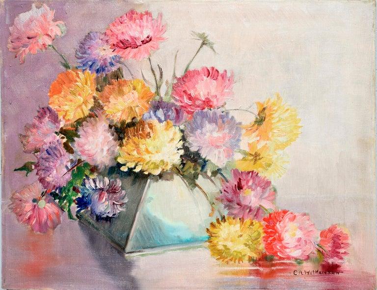C.A. Wilkenson Interior Painting - Mid Century Chrysanthemums in Deco Vase Still-Life