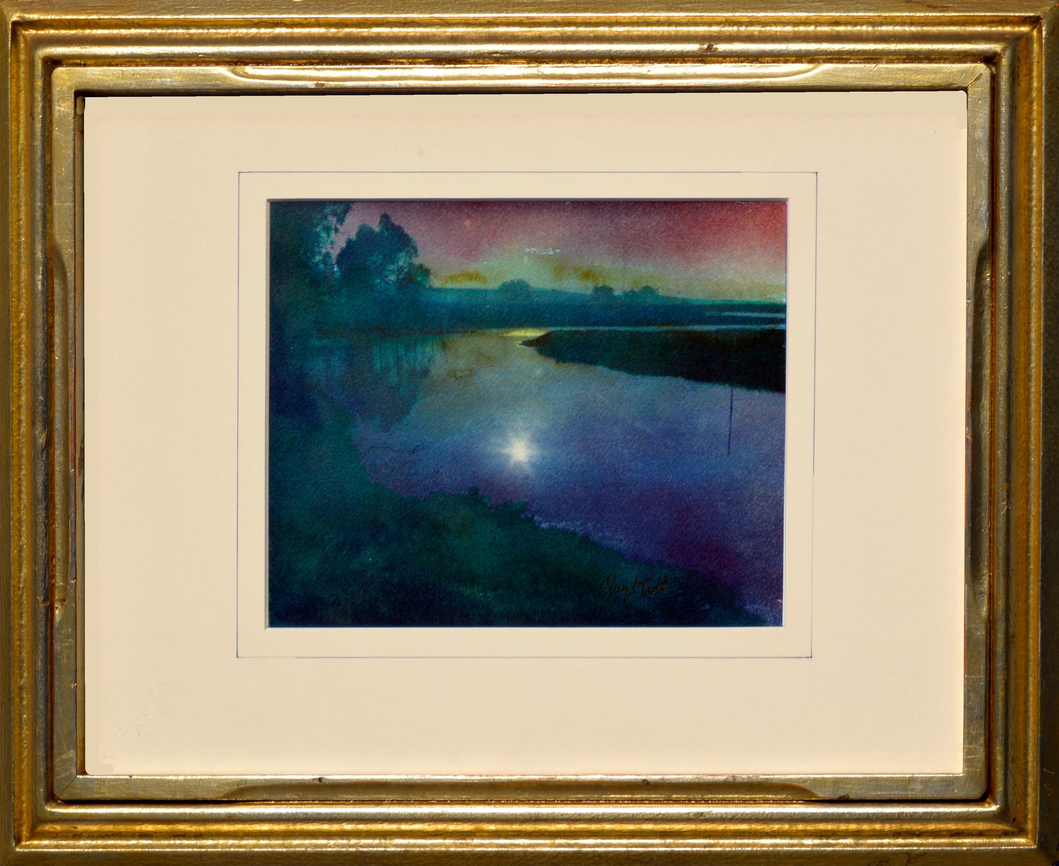 """""""Elkhorn Slough"""" - Cyanotype / Watercolor Landscape"""