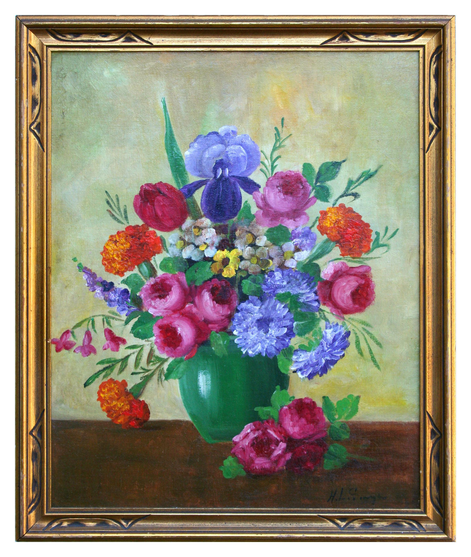 Early 20th Century Vibrant Roses & Iris Bouquet Still-Life