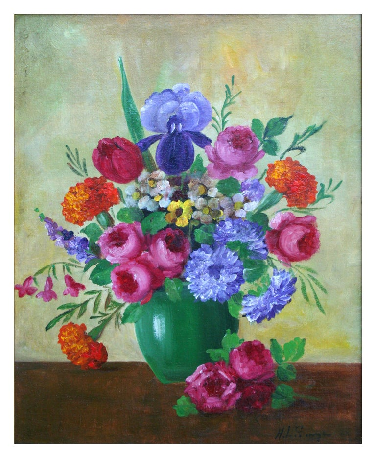 Roses & Iris Bouquet Still Life - Painting by Henry Leon Sanger