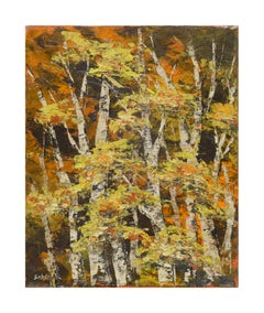 Mid Century Birch Trees Abstracted Landscape