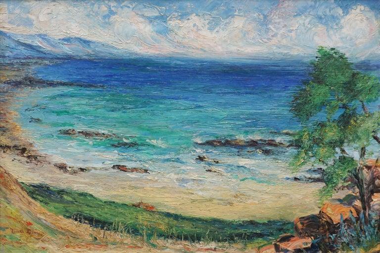 Malibu Coastline 1950's - Painting by Rosalie Leonard