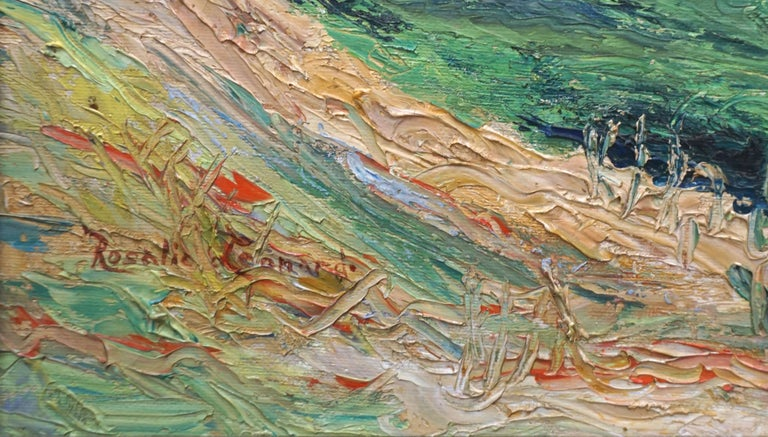 Vibrant Malibu Hills and coastline painting by Southern California artist Rosalie Leonard (American, 20th Century), circa 1960. Heavy impasto adds texture and interest. Signed lower left and on verso. Presented in rustic gilt-toned wooden frame.