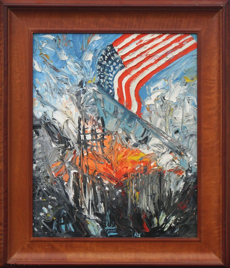 Jocelyn Audette Abstract Painting - America Rising - Patriotic Figurative Abstract