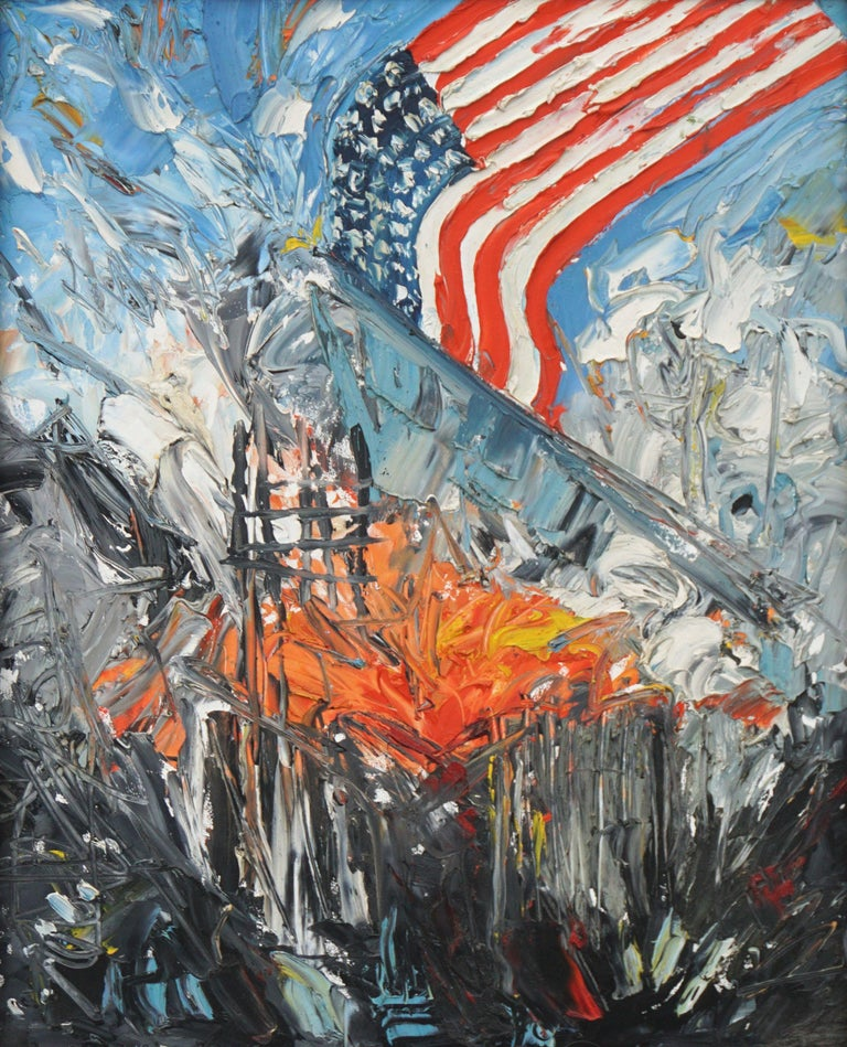 America Rising - Patriotic Figurative Abstract - Painting by Jocelyn Audette