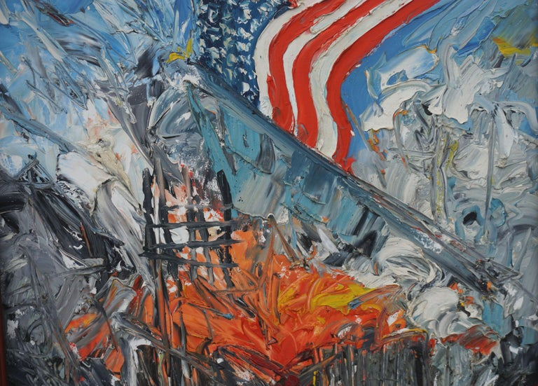 America Rising - Patriotic Figurative Abstract - Abstract Expressionist Painting by Jocelyn Audette